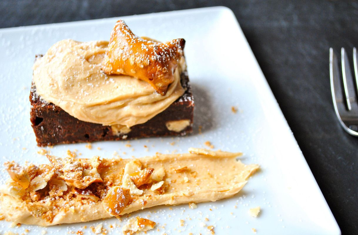 Gojee - Sweet & Salty Dark Fudge Brownie with Pretzel Bites and Peanut Butter Frosting by Okie Dokie Artichokie
