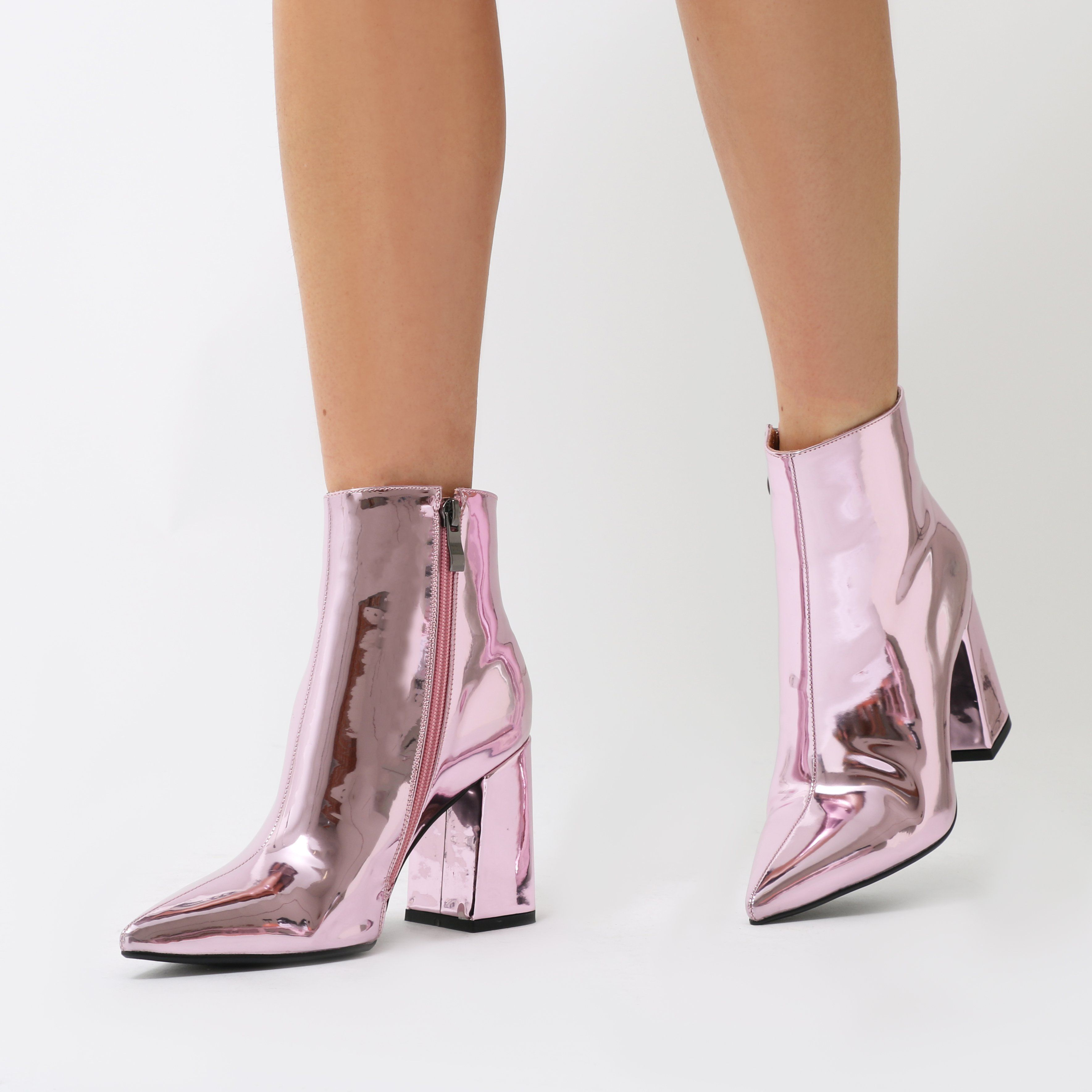 44bb3e70a468 Featuring a flared block heel and pointed toe in a high shine liquid  metallic. Sits just on the ankle so perfect paired with dresses and ...