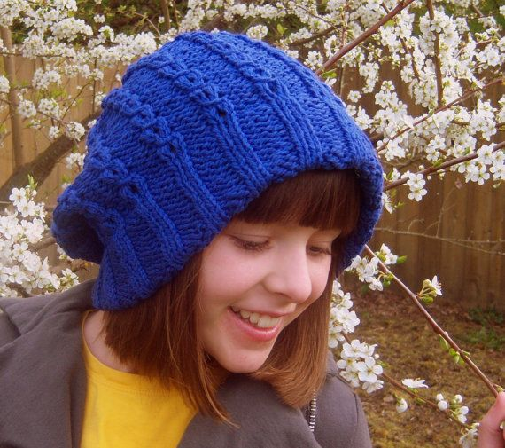 blue jane cabled slouchy cotton women's hat by sydneypaige on Etsy
