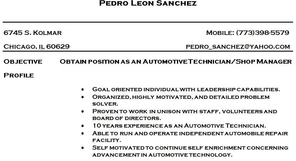 Automotive Technician Resume Skills  HttpWwwResumecareerInfo