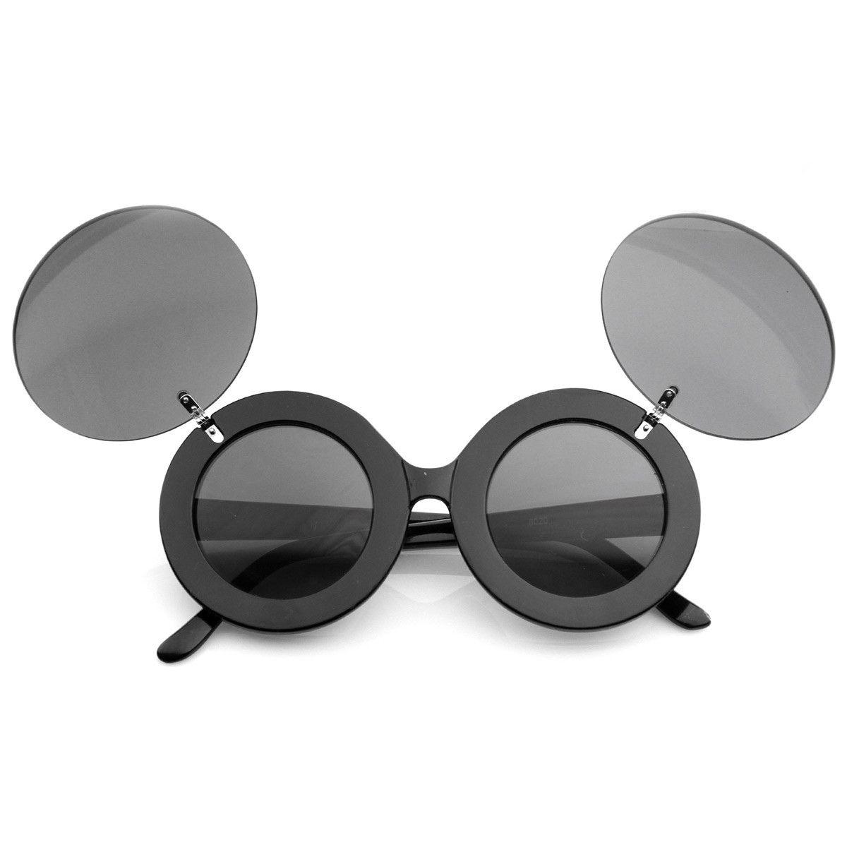 Large designer round circle flipup dual lens glasses
