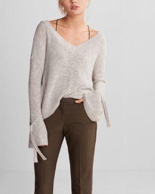 779ada9047e who what wear pick tie sleeve split back cropped sweater (pink ...