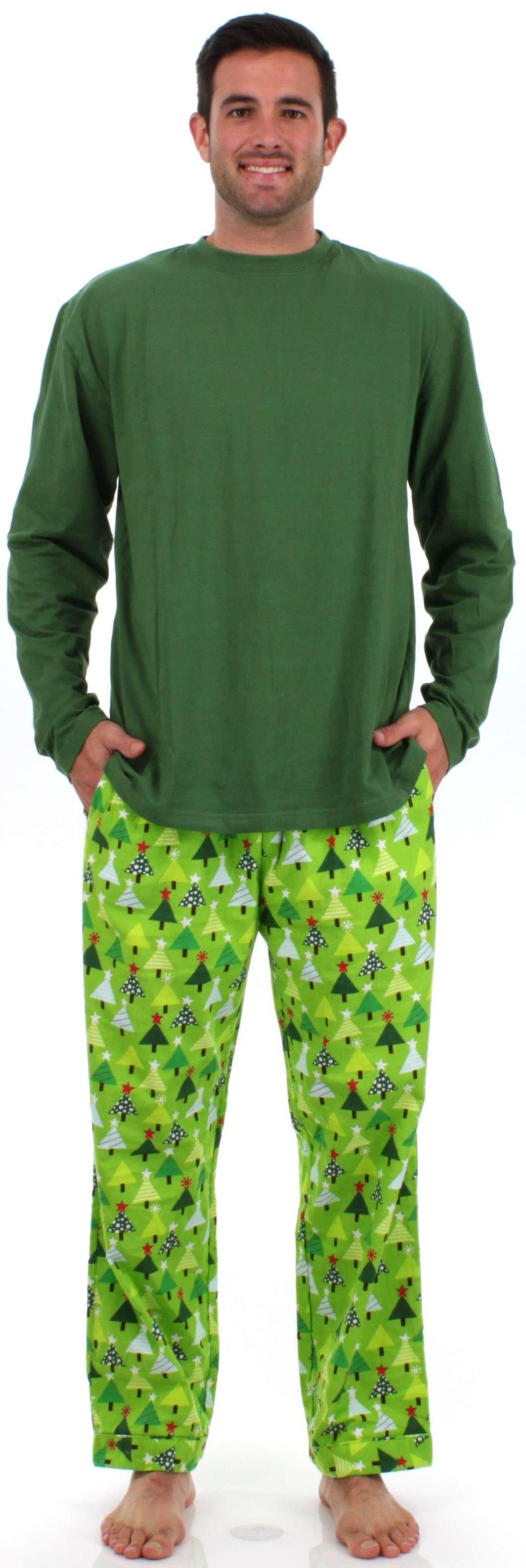 191b49f6af Men s Christmas Trees Green Flannel Pajama Sets by SleepytimePjs ...