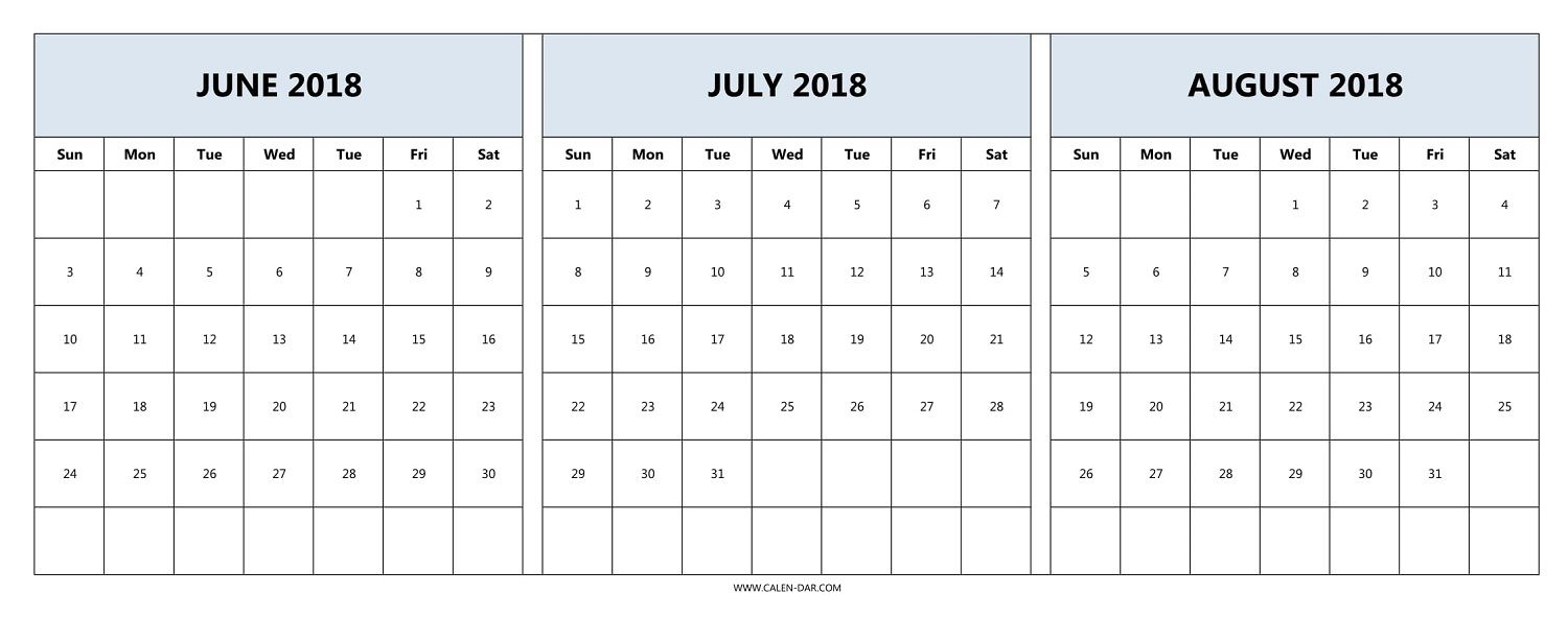 Download June July August 2018 Calendar Printable Free 2018