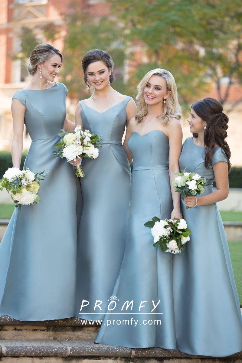 Dusty Blue Satin Mismatched Long Bridesmaid Dresses Sorella Vita Bridesmaid Dresses Wedding Bridesmaid Dresses Chic Bridesmaid Dresses [ 1200 x 800 Pixel ]