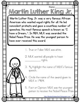 Martin Luther King, Jr. Reading Passage | Social Studies | Reading ...