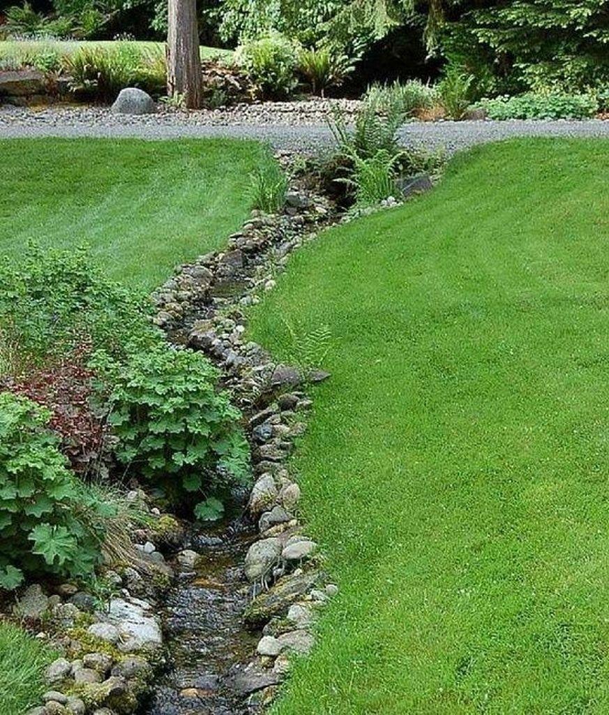 39 Easy DIY Project Ideas for Drainage Garden   Garden ... on Backyard Stream Ideas id=66043