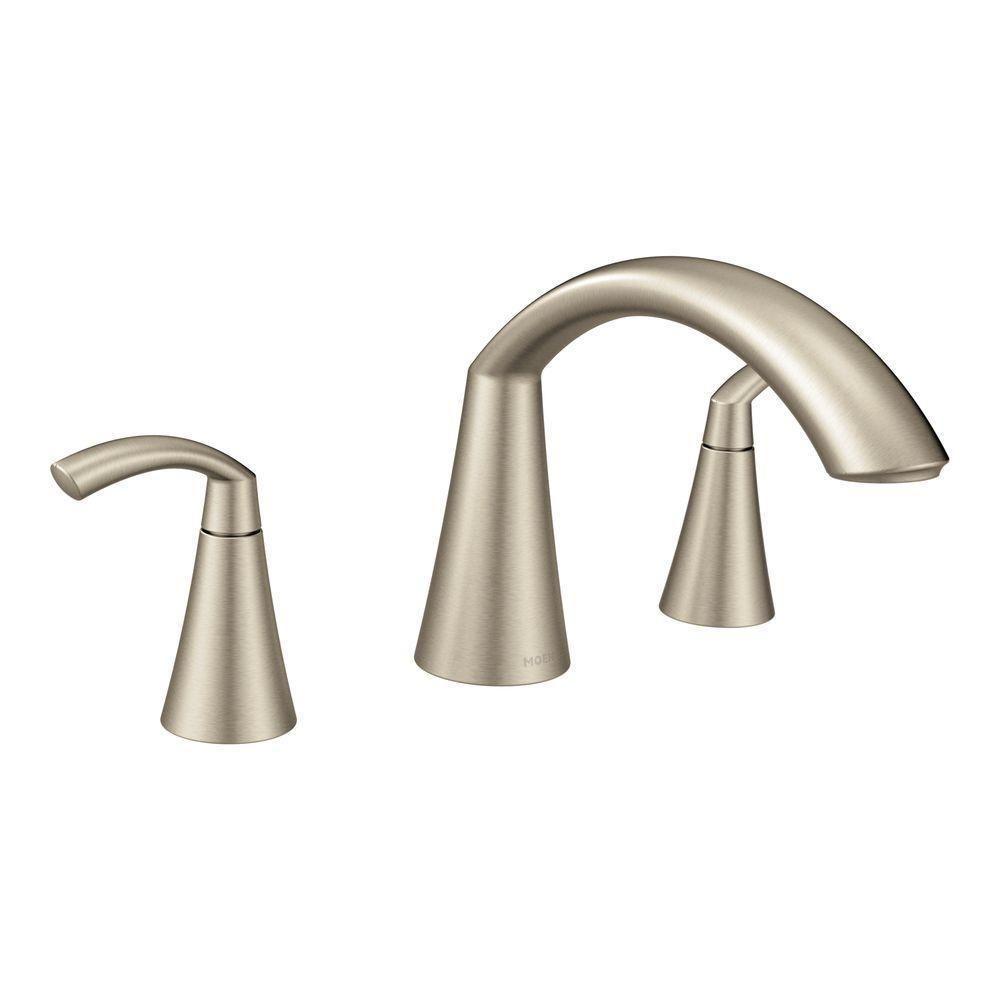 Moen Glyde Two Handle Roman Tub Faucet Brushed Nickel Bathroom