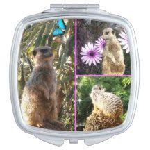 Meerkat,_Photo_Collage,_Ladies_Makeup_Compact Compact Mirror