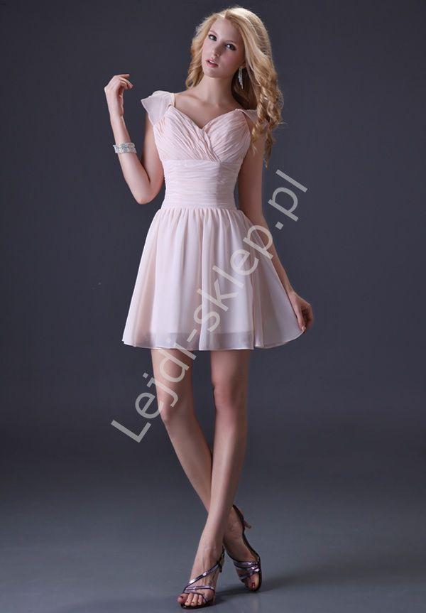 bcb5962ef8 Szyfonowa krótka sukienka na wesele