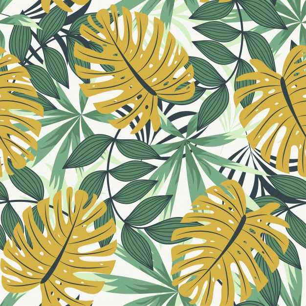 Bright abstract seamless pattern with colorful tropical leaves and plants on white Premium Vector | Premium Vector