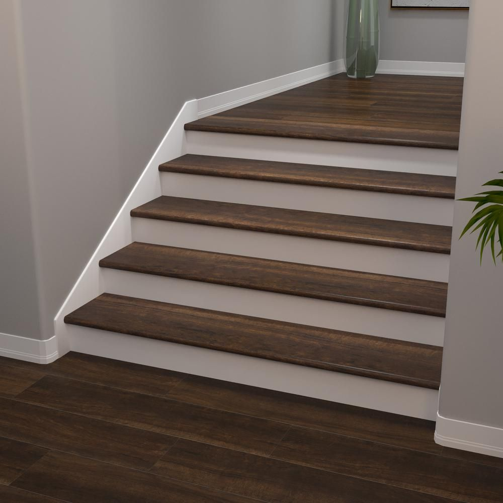 Cali Vinyl Pro Classic Hickory Brook 1 In T X 11 1 2 In W X 48 5 16 In L Vinyl Stair Tread 7914008917 The Home Depot In 2020 Laminate Stairs Vinyl Stair Treads Stair Remodel