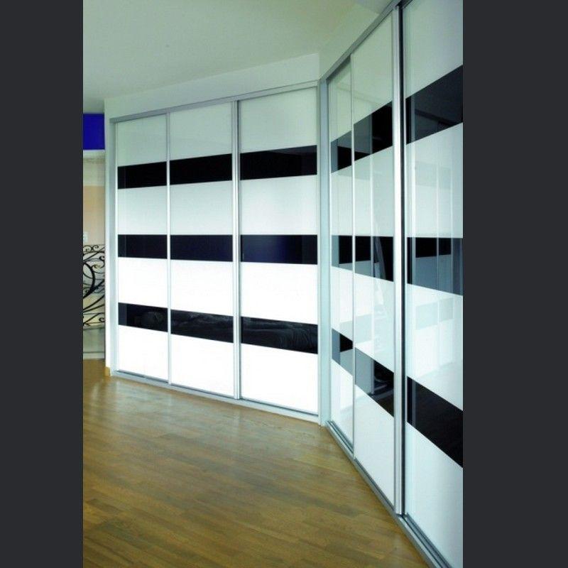 portes de placards design et r alis sur mesure en verre laqu bicolore. Black Bedroom Furniture Sets. Home Design Ideas