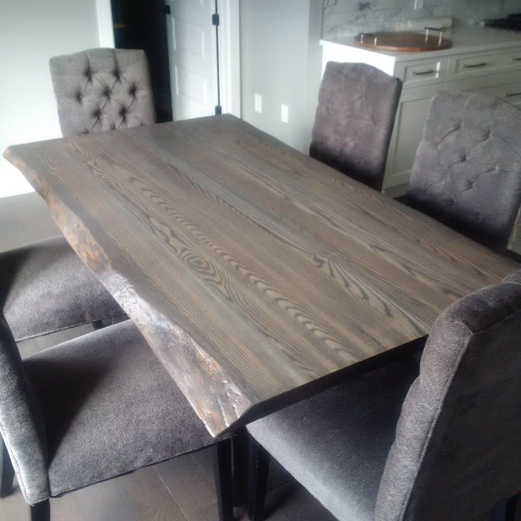 Live Edge Ash Table With A Slate Grey Stain Grey Dining Tables