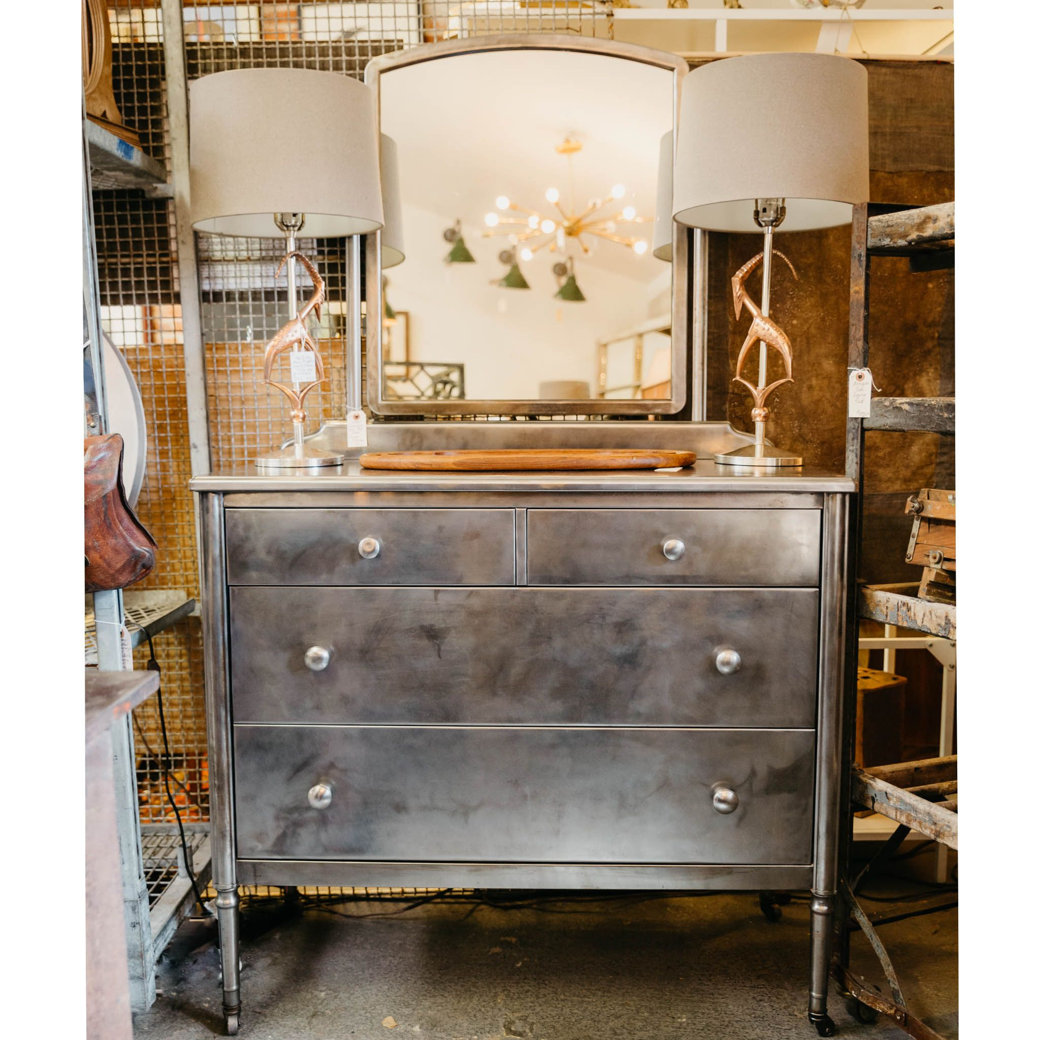 1930s Simmons Raw Steel Metal Dresser