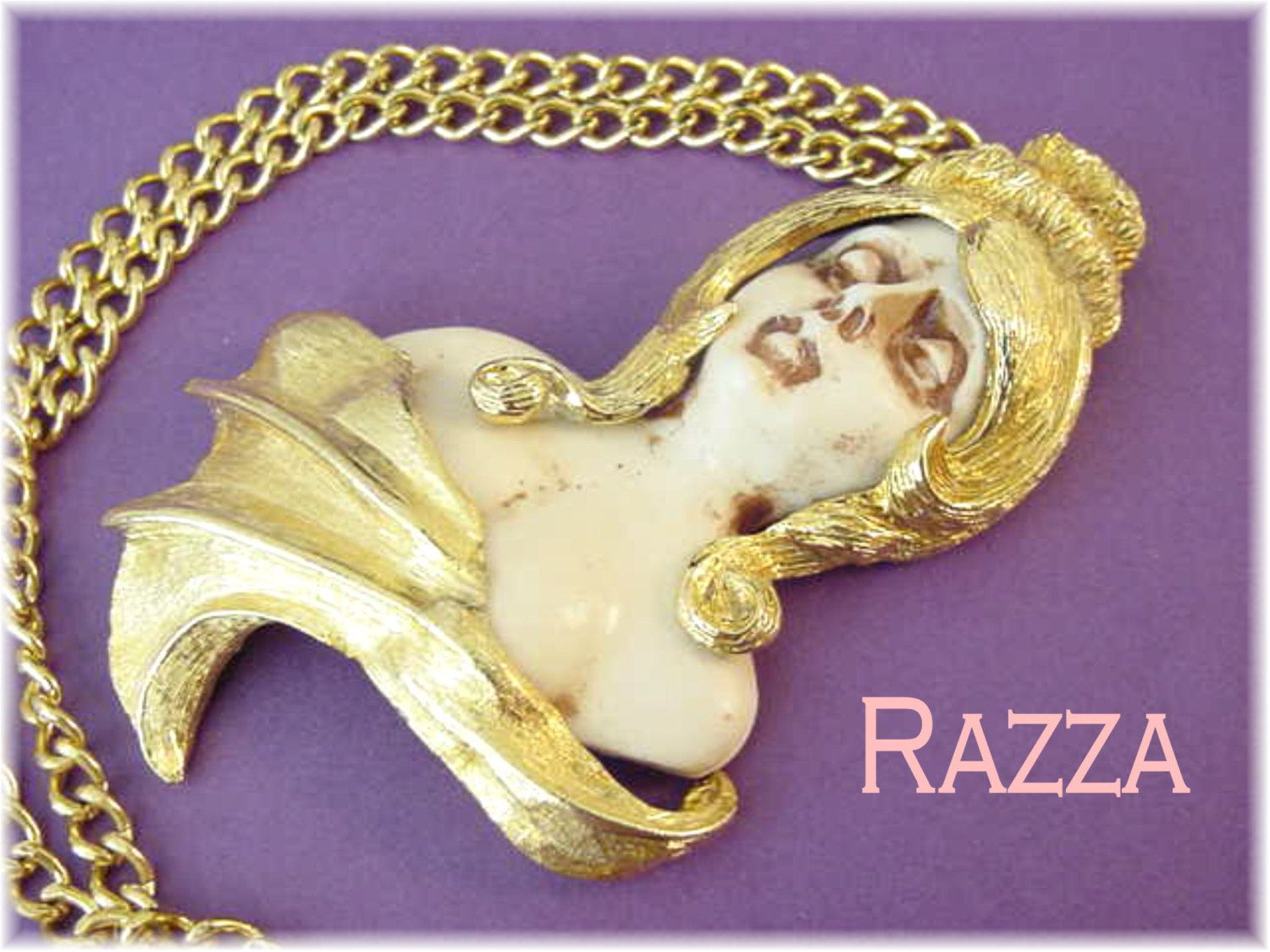 Razza - Virgo Zodiac Pendant Chain Necklace - August Horoscope - Figural Lady Goddess - Statement Jewellery - FREE SHIPPING