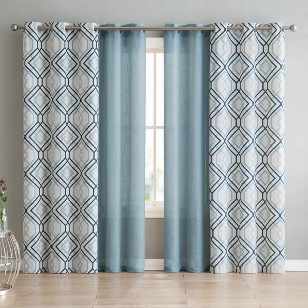 Mathilda Geometric Semi Sheer Grommet Curtain Panels Grommet