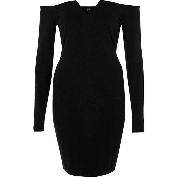 River island black bardot bodycon dress