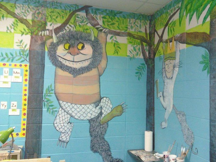 Where the wild things are classroom mural classroom for Classroom mural