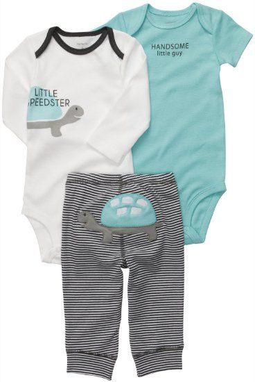 acd1f2b60c0 Amazon.com  Carters Little Speedster Turtle Bodysuit Set BLUE Newborn   Clothing
