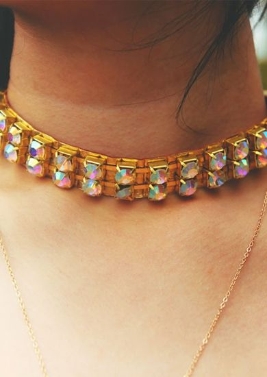 iridescent aurora gold leather choker collar necklace $38 http://www.thiscounts.ca/products/UUFP4938 #thiscounts #discounts #shop #shopping #sale #sales #deal #deals #jewelry #accessories #fashion #trending #style #necklace #gold #choker #onlineshopping #canada