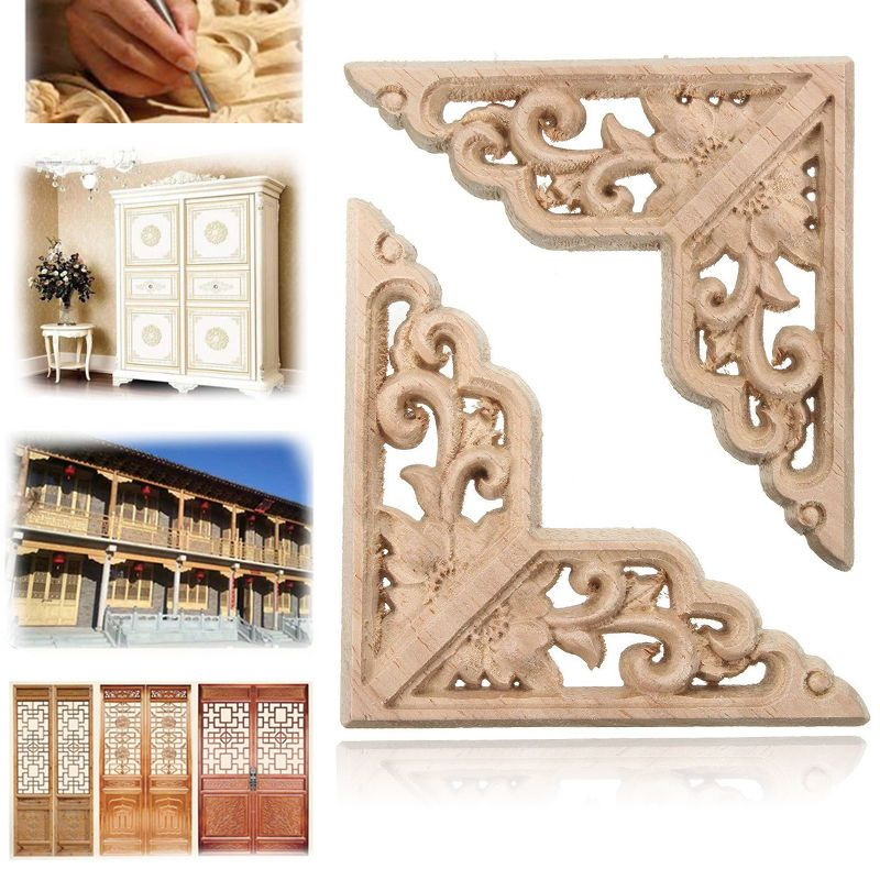 8Style Furniture Drawer Door Home Decor Unpainted Wood Oak Carved ...