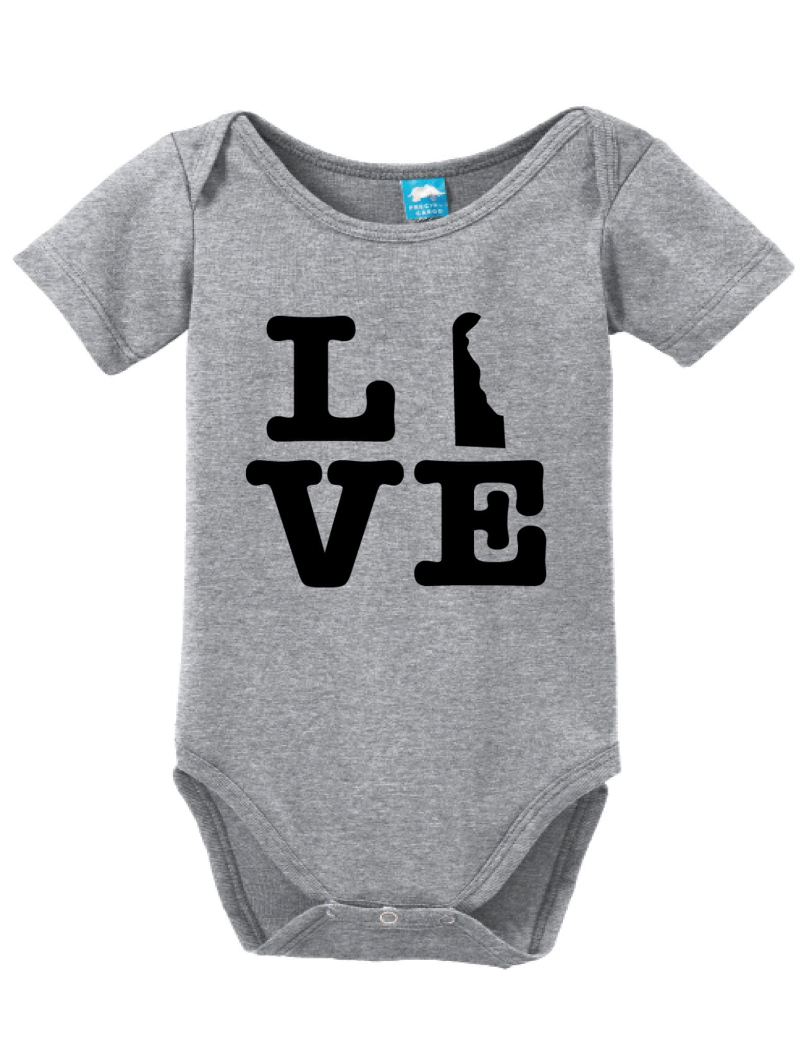 5b3b67c85 Delaware Love Onesie Funny Bodysuit Baby Romper