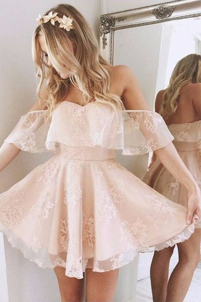 Skin Pink Lace Sexy Mini Length Prom Dresses Homecoming Dress Party Gowns LD281