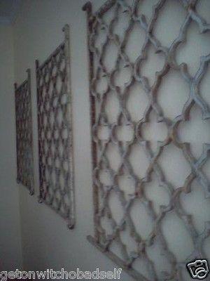 Primitive Garden Gate Panel Wrought Iron Metal Wall Quatrefoil Shabby Chic Decor