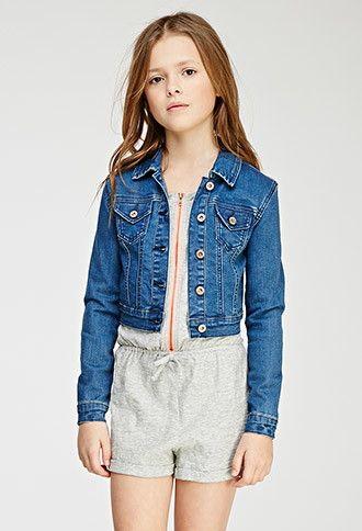 3a8ad38f3849 Girls Classic Stretch-Denim Jacket (Kids) | Forever 21 girls - 2000116192
