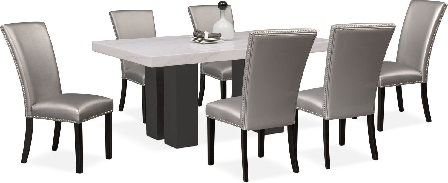 Artemis Marble Dining Table And 6 Upholstered Dining Chairs With