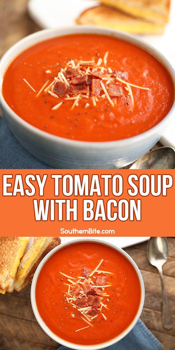 Easy Tomato Soup With Bacon Recipe Tomato Soup Easy Soup Recipes Recipes
