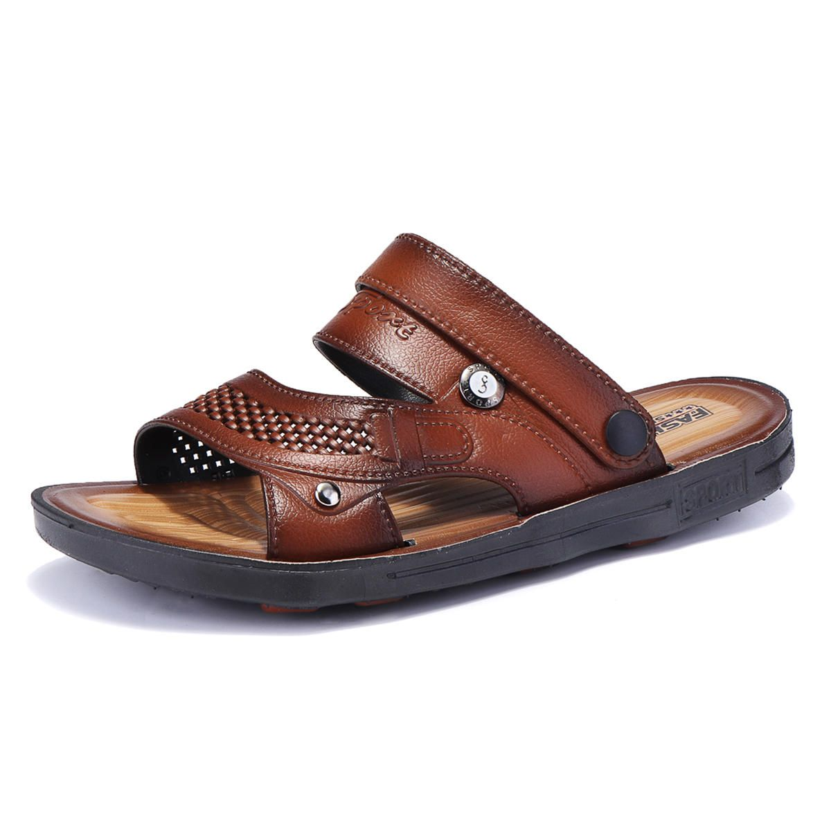 b8497cb4db7d2  US 27.99  Men Comfy Two Way Wear Leather Sandals Beach Slippers  comfy   wear  leather  sandals  beach  slippers