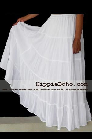 7ae1aba97c No.020 - White Peasant Bohemian Maxi Tiered Long Skirt Full Length Plus  Size Women's Clothing XS,S,M,L,1X,2X,3X,4X,5X,6X and 7X