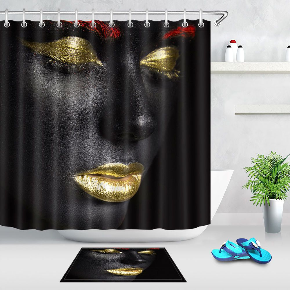 Color Make Up Beauty Black Girl Gold Lips Eye Shadow Shower Curtain Liner 72 Unbranded ColorMakeupBeautyBlackGirlGoldLips