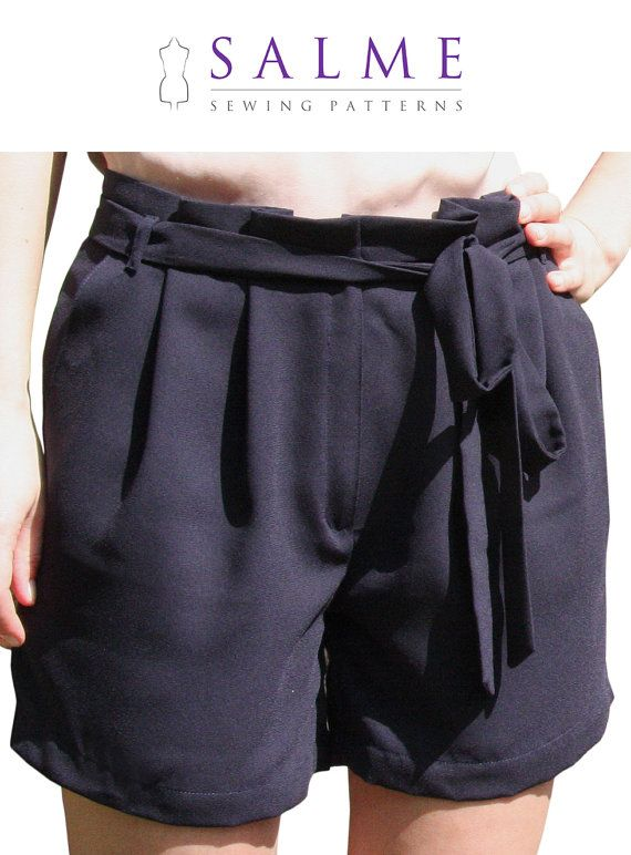 PDF Sewing pattern - Paper bag waist shorts | Sewing pattern paper ...