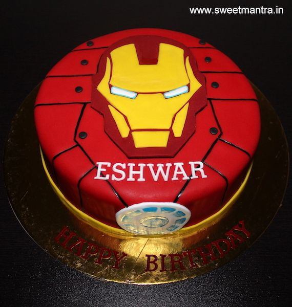 Pleasant Iron Man Theme Customized Small Designer Fondant Birthday Cake At Birthday Cards Printable Trancafe Filternl