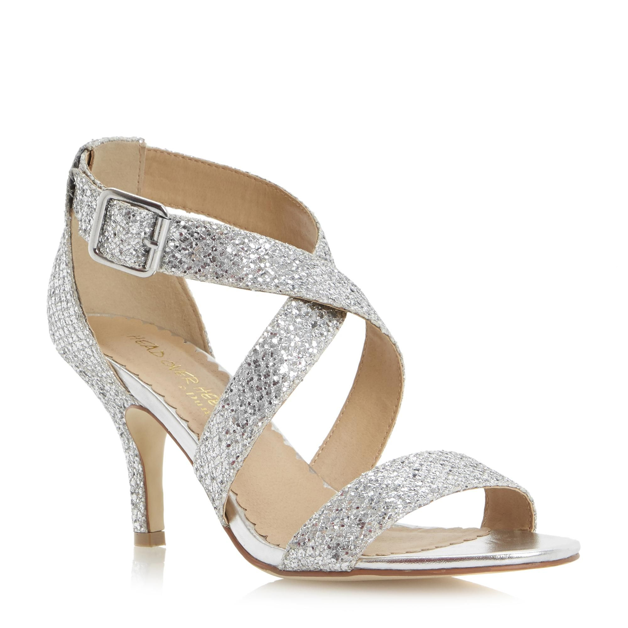 Head Over Heels Ladies Hailing Kitten Heel Glitter Crossover Strap Sandal Silver Dune S Silver Shoes Low Heel Silver Kitten Heels Silver Bridesmaid Shoes