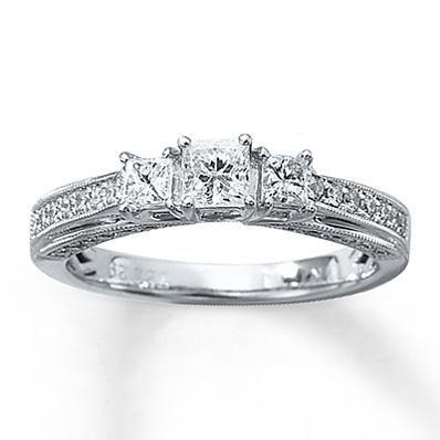 Antique Princess Cut Diamond Engagement Ring Set Under 1500 40
