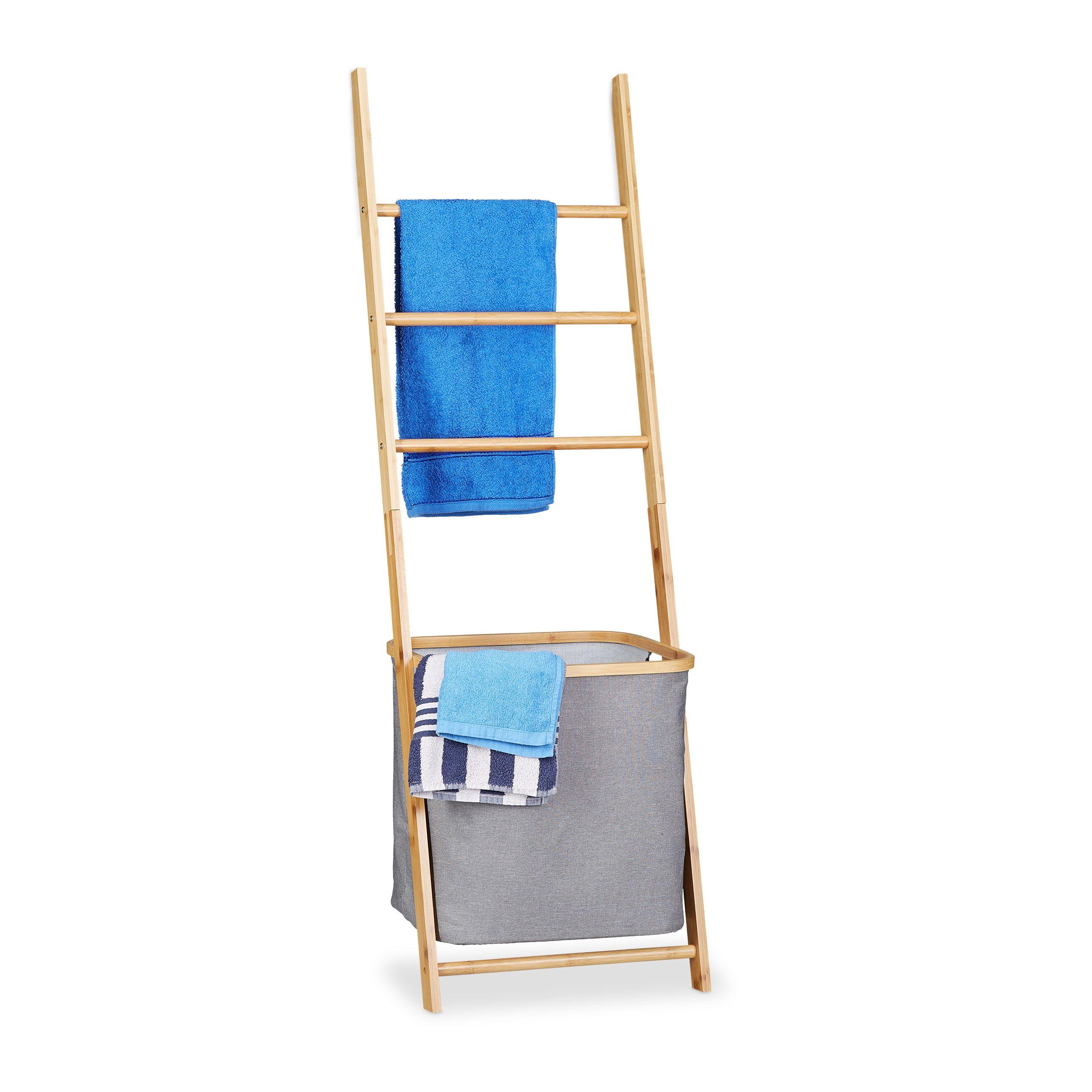 Handtuchhalter Bambus Mit Waschesack Handtuchhalter Bambus Handtuchhalter Waschesack