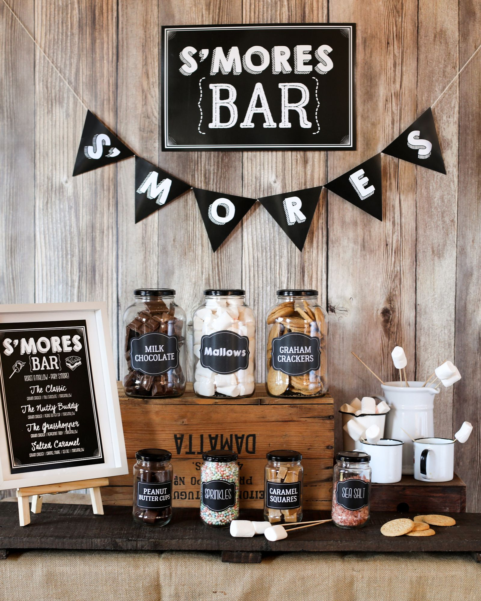 The Ultimate FREE S'Mores Bar Set-Up! - Sunshine Parties | Bonfire party,  Smores party, Smores bar party