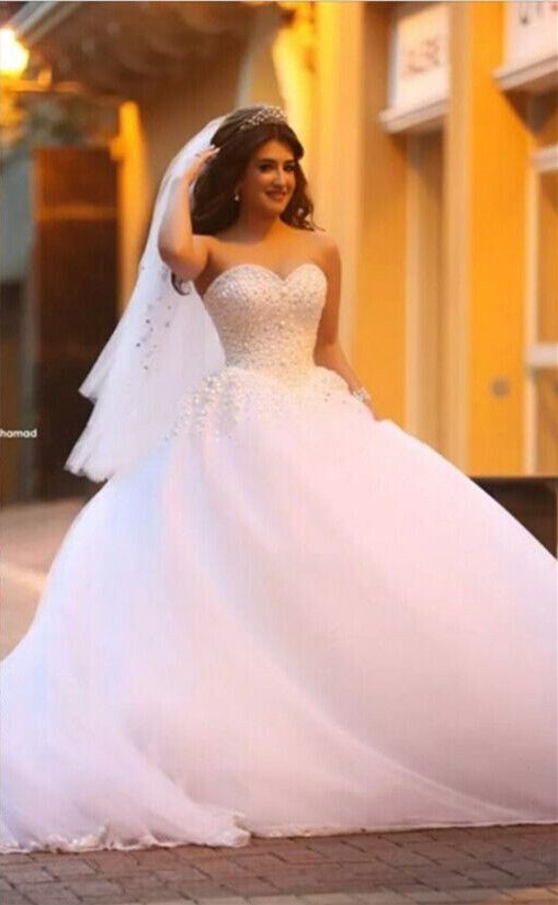 new whiteivory bridal formal wedding dress ball gown size 6 8 10 12 14
