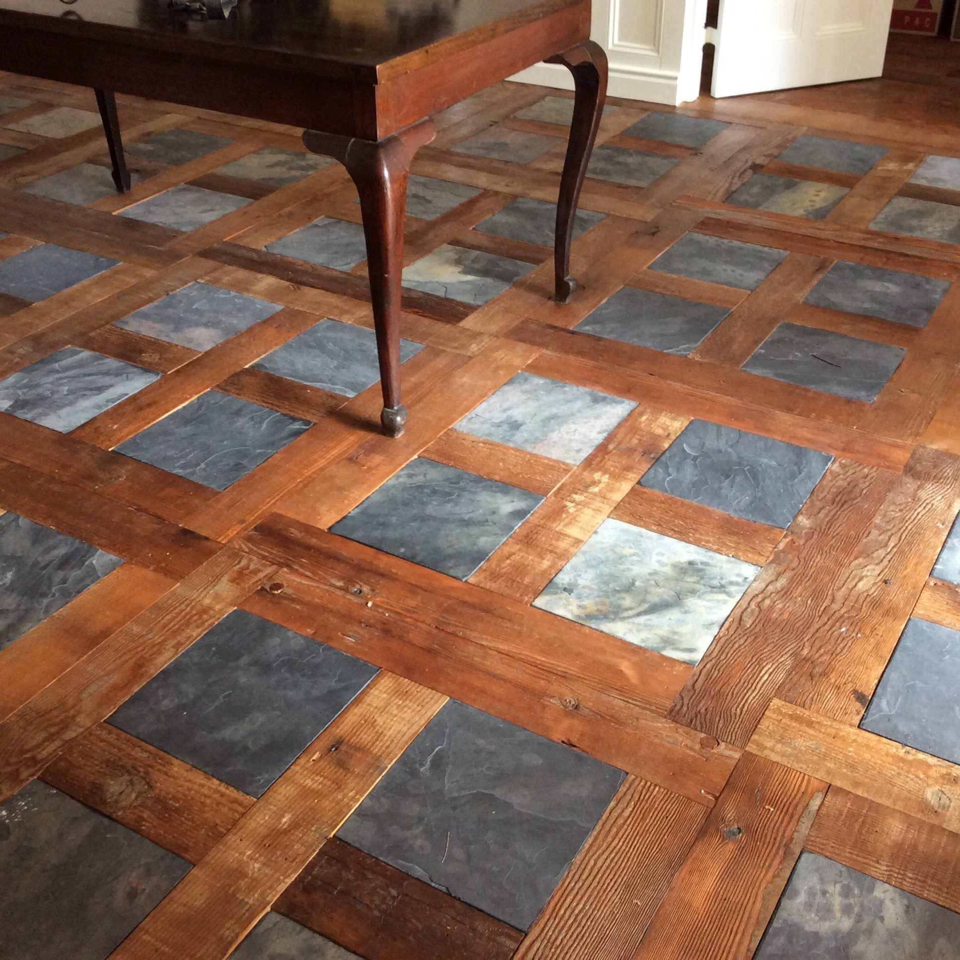 Heritage Building Centre supplied and installed wood and slate floor for client