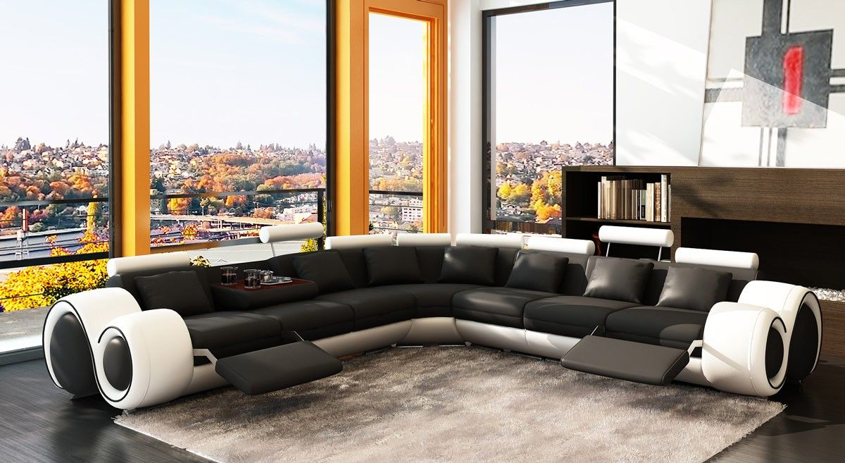 4087 Modern Leather Sectional Sofa with Recliners | VGEV4087-BLK-WHT ...
