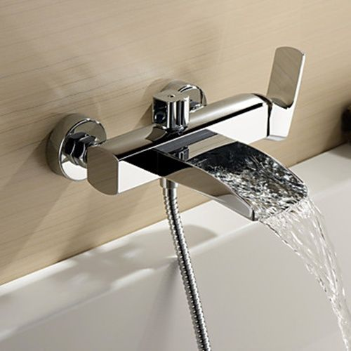 Captivating Chrome Finish Single Handle Wall Mount Waterfall Bathtub Faucet (Hand  Shower Not Included)
