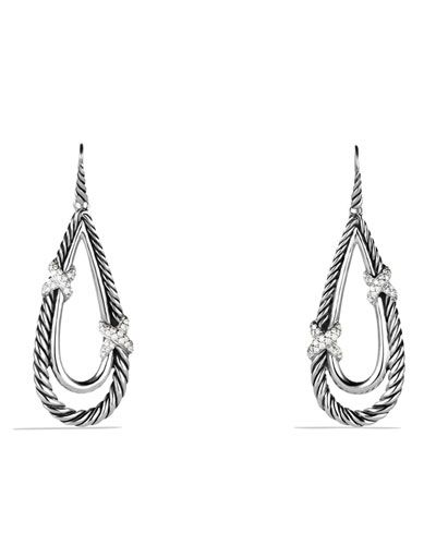 X Drop Earrings with Diamonds
