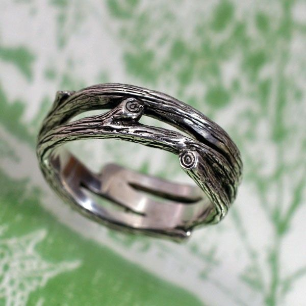branch wedding band a natural wedding ring in sterling silver via etsy - Nature Wedding Rings
