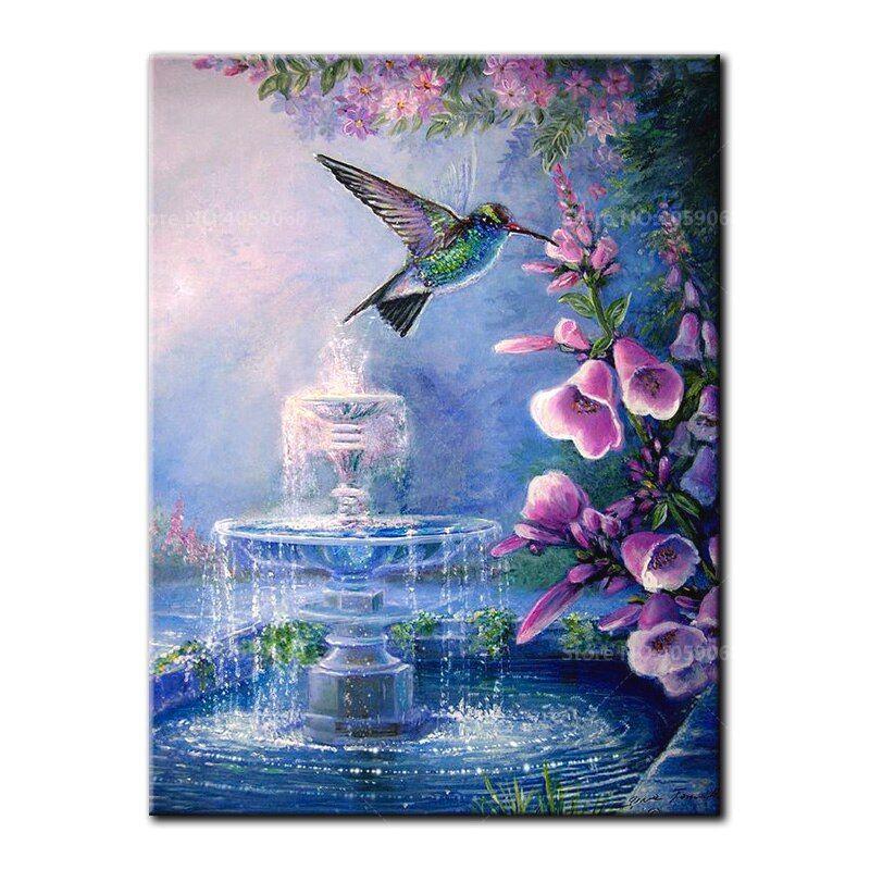 Hummingbird 5D DIY Round Diamond Painting Embroidery Drill Needlework Cross Craft Stitch Kit Home Decor