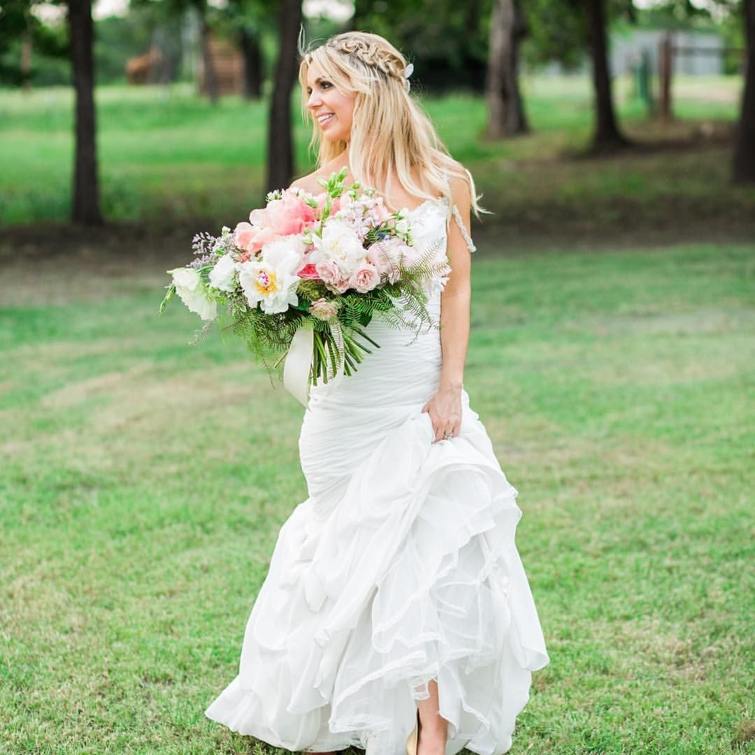 Bright Happy Spring Bridal Bouquet For Ranch Wedding At