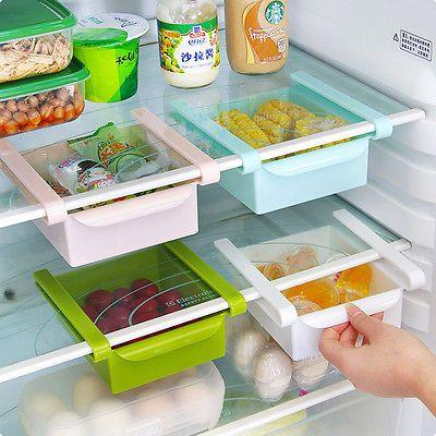 Drawer Box Bin/Under Refrigerator Shelf Attach Organizer Holder